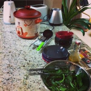 Potato soup, spinach salad.